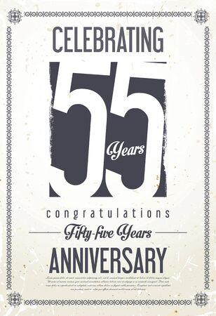 55 years old: Anniversary retro background 55 years