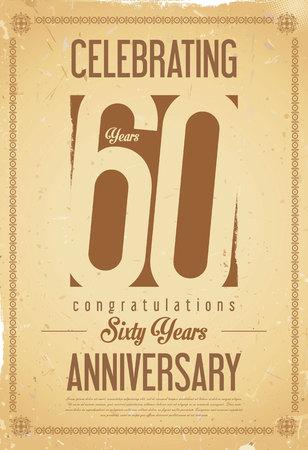 anniversario matrimonio: Anniversario retro background di 60 anni Vettoriali