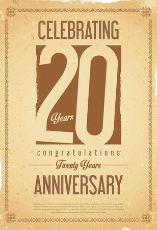 20 years: Anniversary retro background 20 years