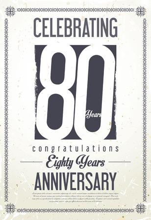80 years: Anniversary retro background 80 years