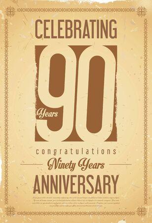90 years: Anniversary retro background 90 years