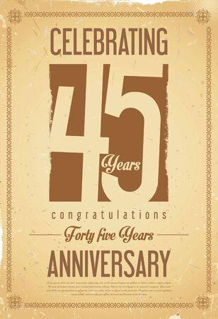 45 years old: Anniversary retro background 45 years