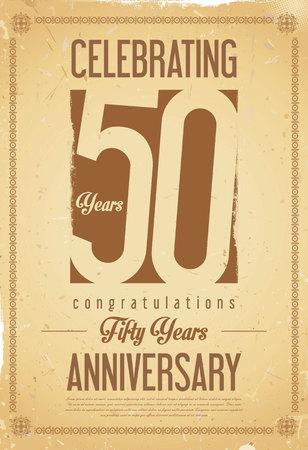 Anniversary retro achtergrond 50 jaar Stock Illustratie
