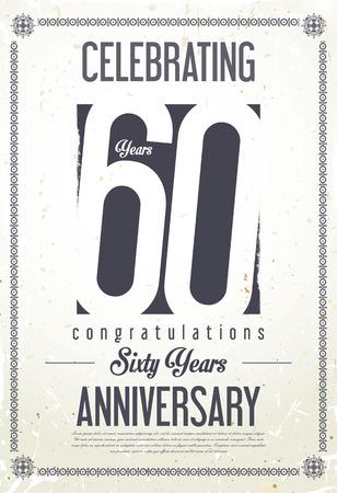 60 years: Anniversary retro background 60 years