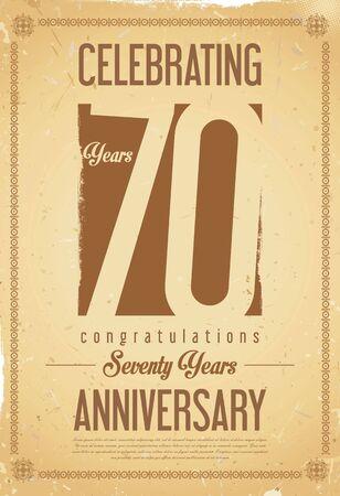 70 years: Anniversary retro background 70 years
