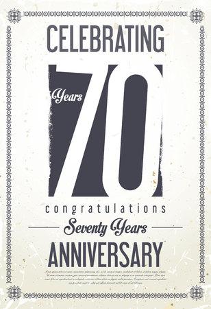 70: Anniversary retro background 70 years