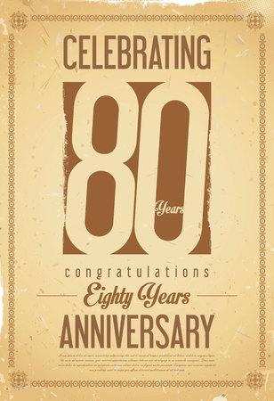80 year old: Anniversary retro background 80 years