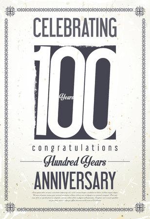 anniversary celebration: Anniversary retro background 100 years