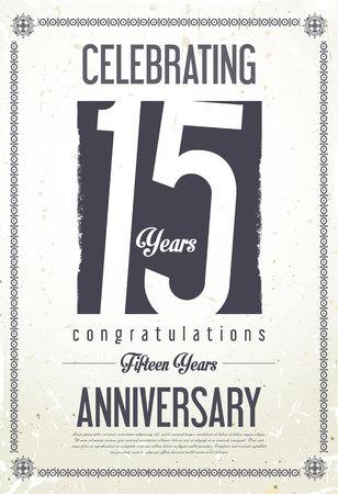 Anniversary retro achtergrond 15 jaar Stock Illustratie