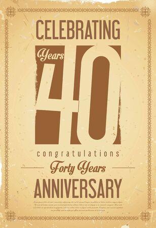 40: Anniversary retro background 40 years Illustration