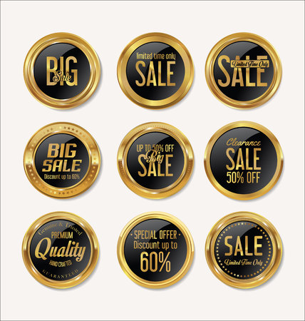 finance icons: Sale retro vintage golden badges and labels