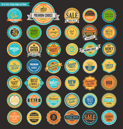 Sale retro vintage badges and labels Çizim