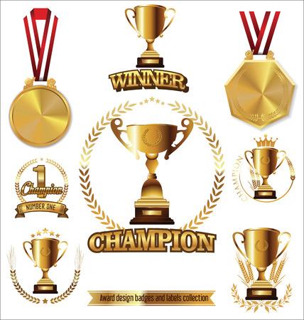 insignia: trofeo de oro y una medalla con la ilustración vectorial corona de laurel