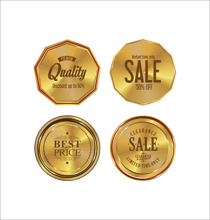 vintage ornament: Golden labels retro vintage collection Illustration