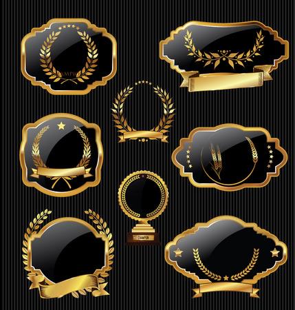 golden laurel wreath: Metal plates premium quality golden collection Illustration