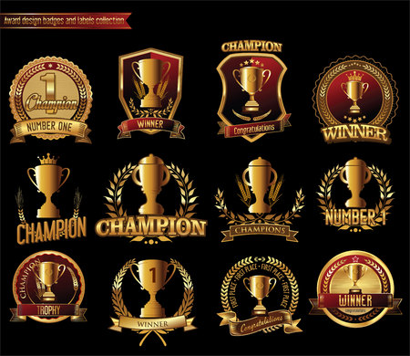 commemorate: Gold trophy and medal with laurel wreath vector illustration