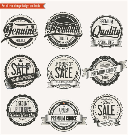 satisfaction: Quality retro vintage badges and labels collection