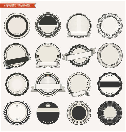 Empty retro vintage badges collection
