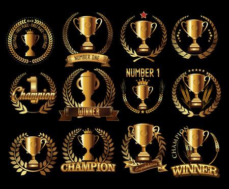 Trophy retro golden laurel wreath colllection Vettoriali