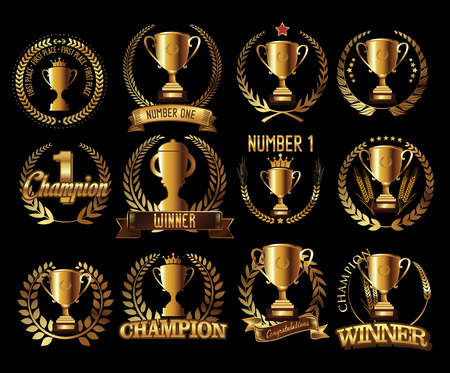 Trophy retro golden laurel wreath colllection Ilustração
