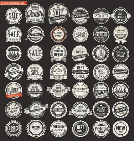 Sprzedaż retro odznaki i etykiety Ilustracje wektorowe
