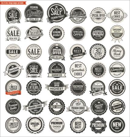 insignias: insignias de época retro de calidad y etiquetas colección