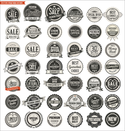 Qualité badges retro vintage et étiquettes collection