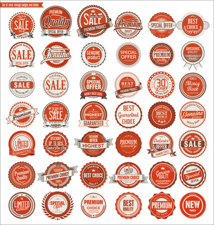 values: Retro vintage badges and labels collection