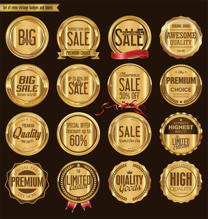 wax glossy: Set of retro vintage golden badges collection