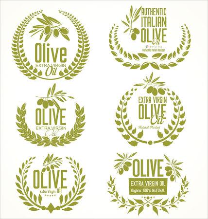 Olive oil laurel wreath design elements  イラスト・ベクター素材