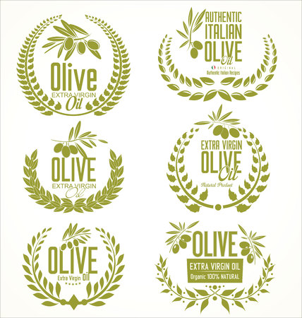 olive branch: Olive oil laurel wreath design elements Illustration