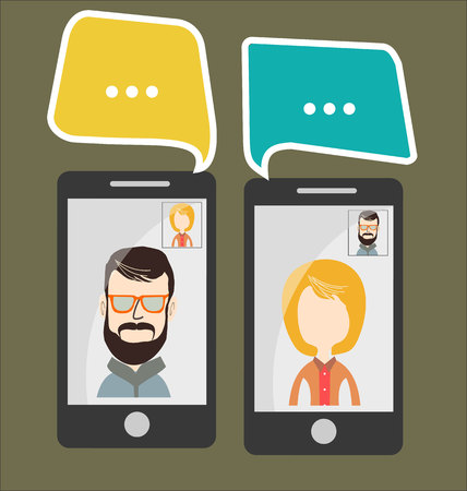 talking phone: Modern vector illustration of online chat