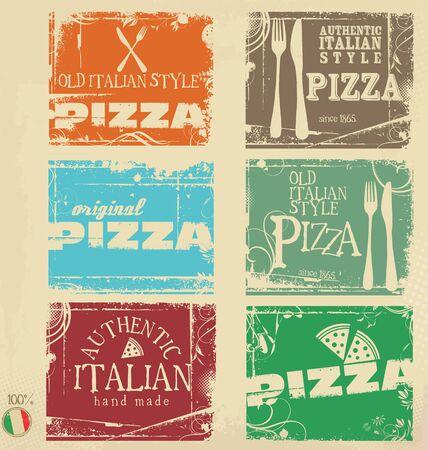 Pizza de grunge pancartas retro colelction Ilustración de vector