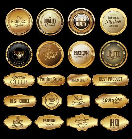 Kolekcja retro złoty etykieta retro Ilustracje wektorowe