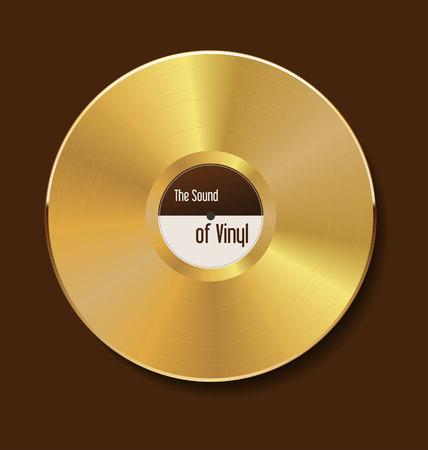 disk jockey: Gold vinyl illustration