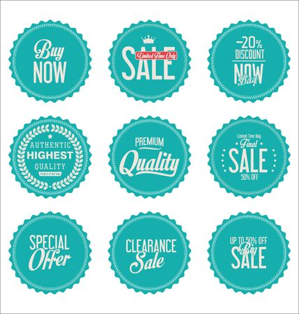 webshop: sale stickers on white background collection