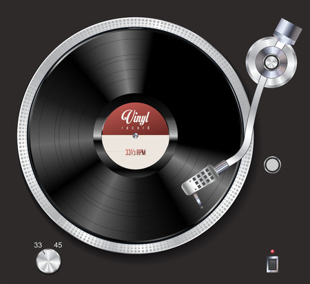 Turntable playing vinyl vector illustration Çizim