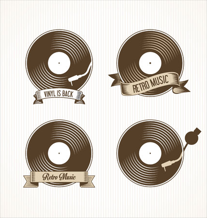 vinyl disk player: Retro vinyl records badges Illustration