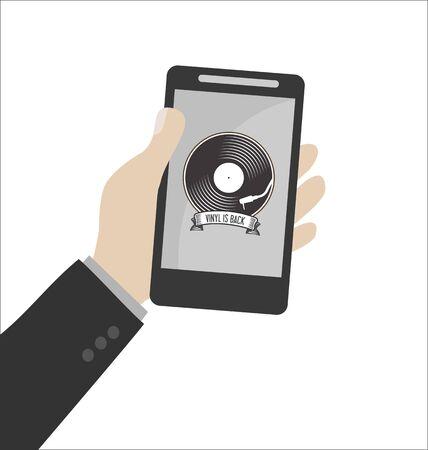 turn table: Retro vinyl design message