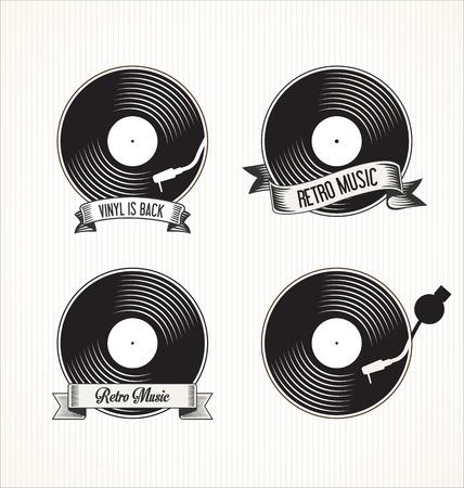 turn table: Retro vinyl records badges Illustration