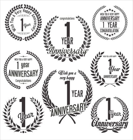 one year old: Anniversary laurel wreath retro vintage design
