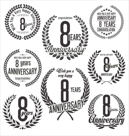 8 years birthday: Anniversary laurel wreath retro vintage design