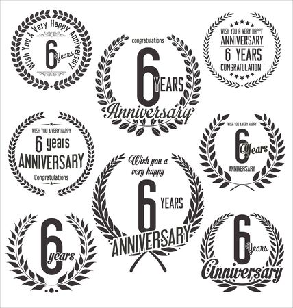six year old: Anniversary laurel wreath retro vintage design