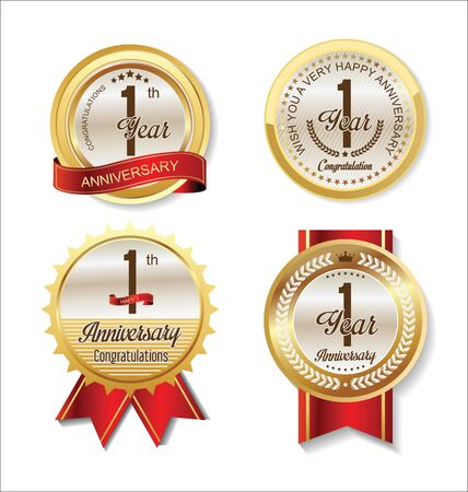 1 year anniversary: Anniversary Retro vintage golden labels collection 1 year Illustration