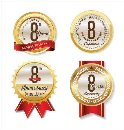 8 years birthday: Anniversary Retro vintage golden labels collection 8 years Illustration