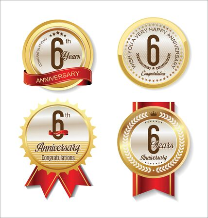 6 years: Anniversary Retro vintage golden labels collection 6 years Illustration