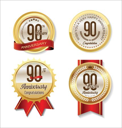90: Anniversary Retro vintage golden labels collection 90 years Illustration