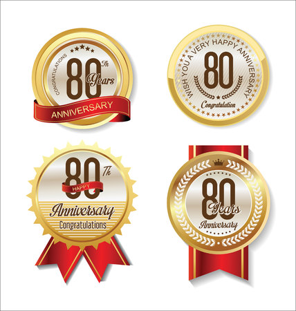 80 years: Anniversary Retro vintage golden labels collection 80 years