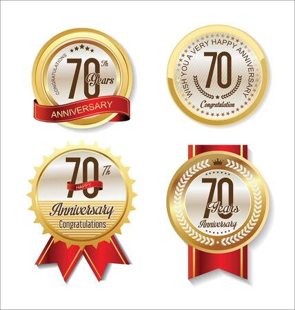 70 years: Anniversary Retro vintage golden labels collection 70 years Illustration