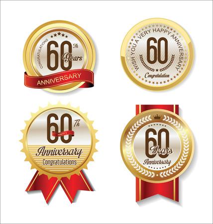 anniversario matrimonio: Anniversario Retro collezione di etichette dorate dell'annata 60 anni Vettoriali